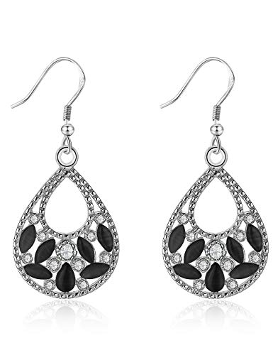 XZP Antique Vintage Dangle Earrings Black Opal Teardrop Pear Shape Earrings for Women (Silver Tone) ()