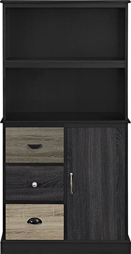 MIK Wood Openwork Design Bookcase with 2 Shelves - Bookcase with 3 Drawers - Black