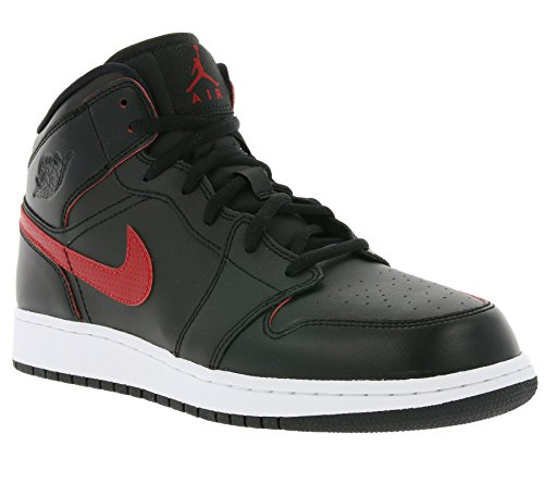 Air Jordan Boys Air 1 Mid Big Kids Style Nero / Palestra Rosso-palestra Rosso-bianco
