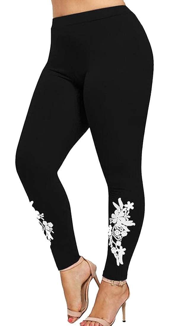 XQS Women Classic High Waist Flower Embroidery Stretch Jeans Denim Pants