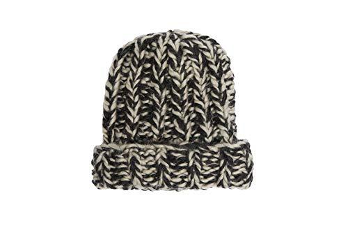 Hand Knit Soft Merino Wool Boho Beanie Hat Skull Cap for Men and Women Black ()