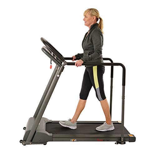 Sunny Health & Fitness Recovery Walking Treadmill with Low Profile Deck and Multi-Grip Handrails for Mobility/Balance Support