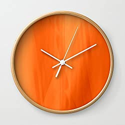 Society6 Color Serie 1 Orange Wall Clock Natural Frame, White Hands