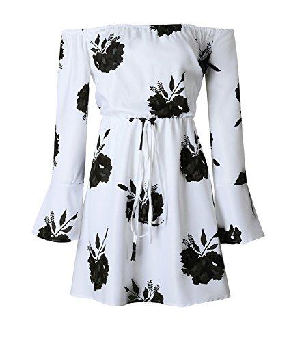 Aelson Robe Imprimé Floral Épaule Avec Ceinture Noire Au Large Des Femmes