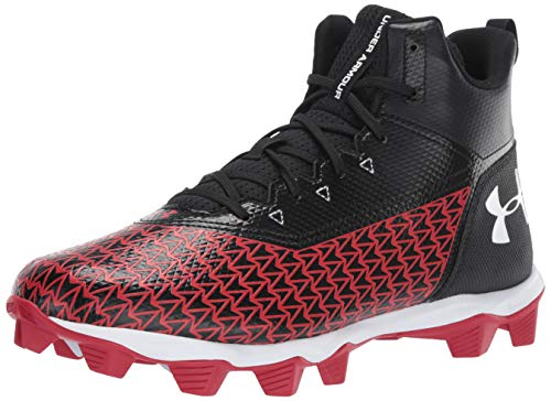 Under Armour Men's Hammer Mid RM Football Shoe, Black (004)/Red, 9.5 M US - Mid Cut Cleat