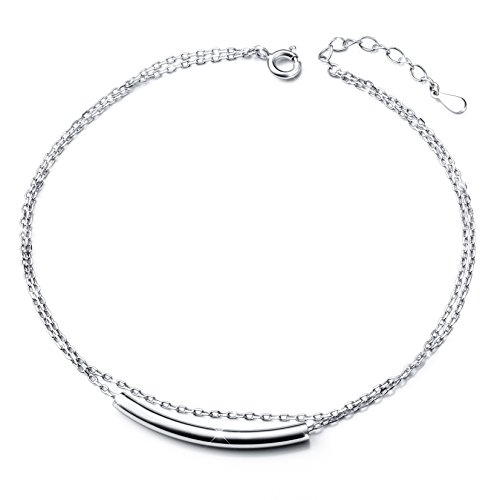 Simple Double Layered Anklet for Women S925 Sterling Silver Plus Adjustable Foot Ankle - 9 Silver Inch Ankle Bracelet