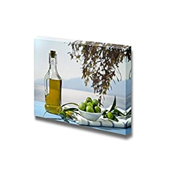 Canvas Prints Wall Art - Olives and Olive Oil Against Mediterranean Landscape - 12