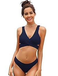 SHEKINI de Las Mujeres Criss Cross Bikini Empujar-up Halter Vendaje Trajes de baño de Abrigo