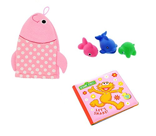 Sesame Street Bath Tub Book, Baby Wash Cloth Puppet And Tub Toys - Zoe Book Pink Set - Cloth Infant Puppets