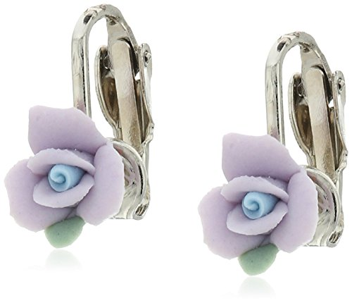 1928 Jewelry Silver-Tone Lavender Purple Porcelain Rose Clip-On Earrings