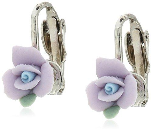 1928 Jewelry Silver-Tone Lavender Purple Porcelain Rose Clip-On Earrings
