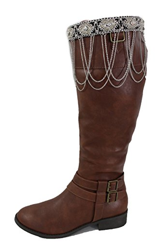 (Western Women Winter Boot Toppers Silver Metal Chain Stud Black Knee High)