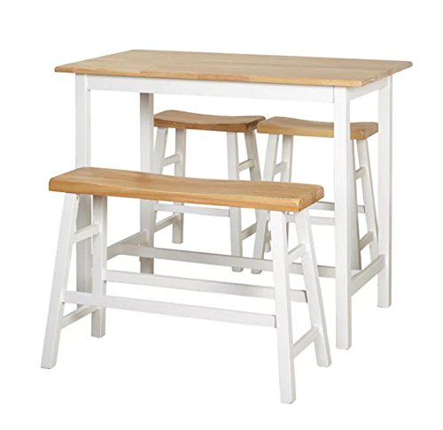 Pub Table Set 4 Piece Counter Height Dining Farmhouse Furniture - Home Bar Table, Bench & Stools White / Natural Breakfast Bistro (Stools Bench Breakfast)