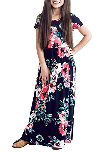 LYXIOF Girls Summer Floral Printed Empire Waist Long Maxi Dress with Pockets Navy Blue 110CM ()