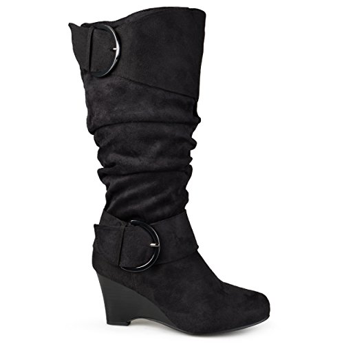 (Brinley Co. Womens Regular and Wide-Calf Knee-High Buckle Slouch Wedge Boot Black, 9.5 Wide Calf US)