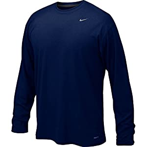 Nike Mens Legend Poly Long Sleeve Dri-Fit Training Shirt College Navy/Matte Silver 384408-419 Size X-Large