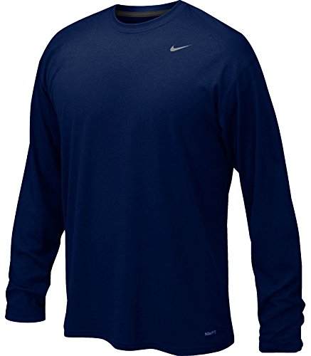 College Legends (Nike Mens Legend Poly Long Sleeve Dri-Fit Training Shirt College Navy/Matte Silver 384408-419 Size Large)