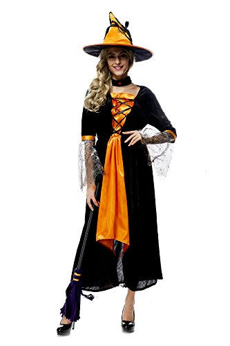 [Oxfox Halloween Costume Women Witch Outfits Ladies Sorcery Party Cosplay Orange] (Viking Outfits For Adults)
