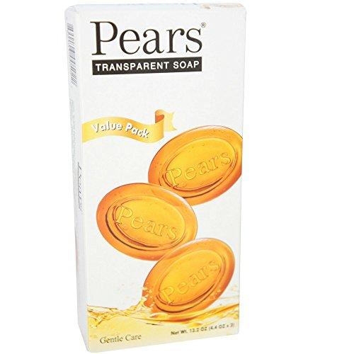 Pears Glycerine Soap - Pears Transparent Soap Bars 4.4 oz, 3 ea