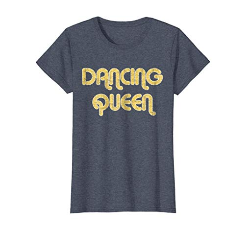 1970's Mens Jeans - Womens DANCING QUEEN Vintage Large Print 1970's T-Shirt Small Heather Blue