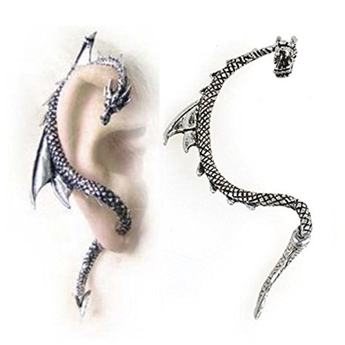 Clip Snake (1 pc/Right Ear Antique Siver Snake Fashion Crystal Clip Ear Cuff Stud Women's Punk Wrap Cartilage Earring Jewelry)