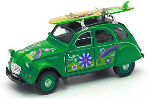 11,5x4x5cm - Licence Officielle Citro/ën RODA V/éhicule m/étal Citro/ën 2cv Vert avec Surf