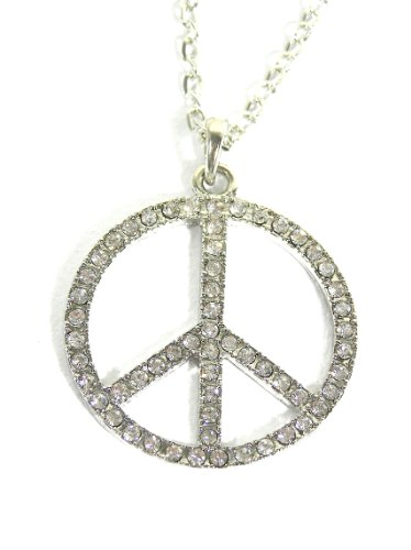 Magic Metal Crystal Peace Sign Necklace Flower Power Hippie NK24 Anti War Silver Tone Sparkle Pendant Fashion Jewelry