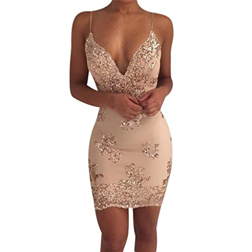 NEWONESUN Women's Spaghetti Strap Sexy Bodycon Deep V-Neck Mini Stretchy Party Club Dresses Lace Cocktail ()
