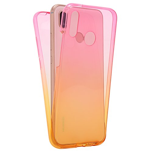 Price comparison product image IKASEFU Huawei P20 lite Case,360 Front and Back Full Body Protection Flexible TPU silicone transparent ultra thin Bumper Case Cover for Huawei P20 lite,Gradient Pink yellow