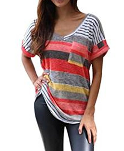 Q&Y Women's V-neck Striped Casua...