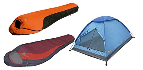 High Peak USA Alpinizmo Redwood -5F & Water Proof 0F Sleeping Bags 3 Tent Combo Set, Blue/Orange/Red, One Size ()