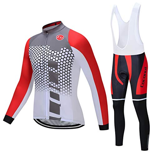 Coconut Ropamo Men s Cycling Jersey Suit Long Sleeve Road Bike Jersey  Cycling Sets Tights with Padded 4d50d3e24