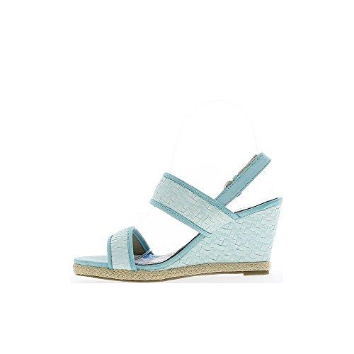 Sandales compensées bleues à talons de 8,5 cm et plateau de 2 cm