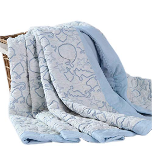 Cheap Kingnex 47″x39″ Muslin Baby Blanket Lightweight Soft Printed Double Layer Bamboo Cotton Quilted Blue Throw Blanket