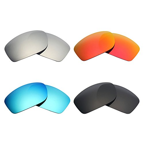 Mryok 4 Pair Polarized Replacement Lenses for Oakley Fives Squared Sunglass - Stealth Black/Fire Red/Ice Blue/Silver - Replacement Lenses Polarized Oakley Fives