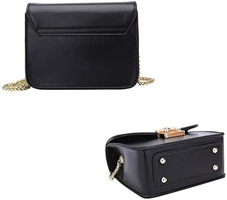 SJMMBB WomenS Bag Slanted Cross Chain Shoulder Bag,Black,19X10.5X8Cm