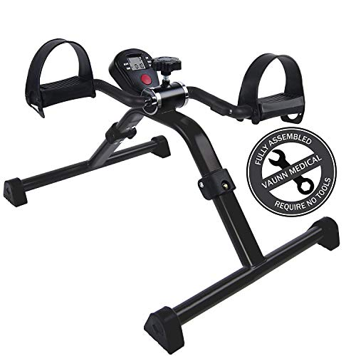 Vaunn Medical Folding Pedal Exerciser with Electronic Display for Legs and Arms Workout (Fully Assembled Exercise Peddler, no Tools Required)
