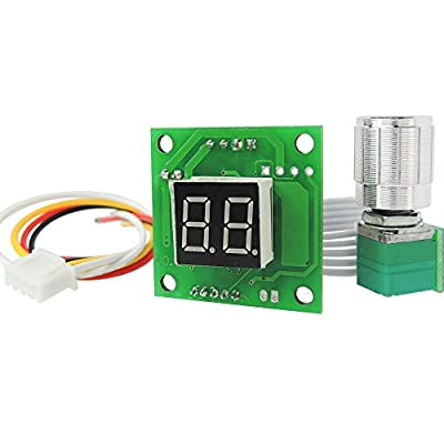 "uniquegoods 6V 12V 24V 28V DC Digital Display DC Motor Speed Controller Adjustable Variable Speed Switch 1.26""×1.26""×0.48"" Small Size PWM Driver Brand new Upgraded 1803D"