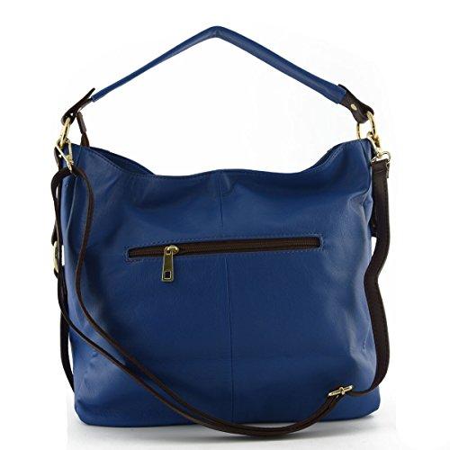 Echtes Leder Damen Schultertasche Farbe Blau - Italienische Lederwaren - Damentasche