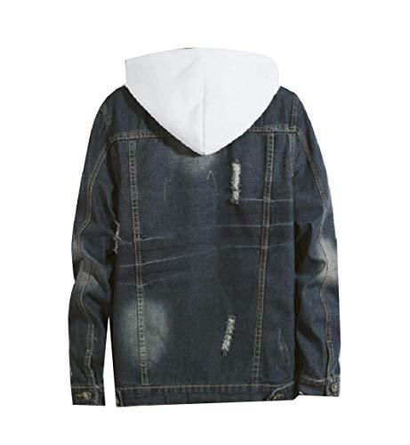Girano Blu Del Di giù Denim Del Outwear Tasto Mogogo Foro Mens Tasca Collare 5Xnx7qwZO