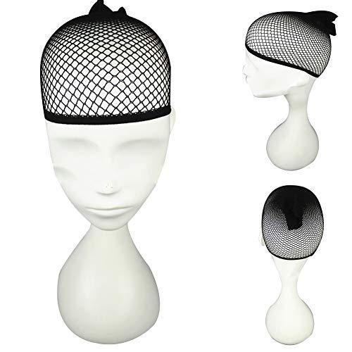 (Kekailu Women Wig Cap Black Elastic Nylon Open End Mesh Liner Short Fishnet Hair Net Black)