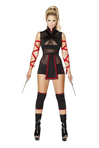3 Piece Assassin Ninja Hit Woman Romper w/ Arm Straps Party Costume