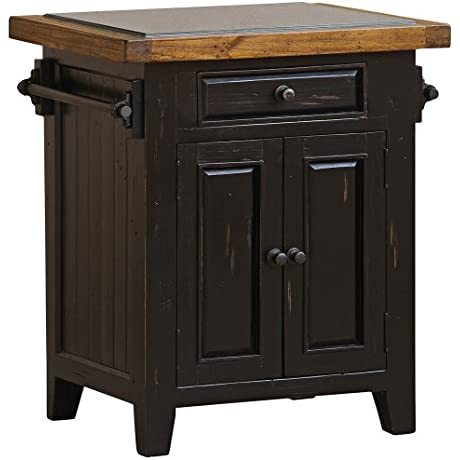 Hillsdale Furniture 5267855W Tuscan Retreat 24 Wide Small Kitchen Island With 1 Pass Thru Drawer 2 Doors Granite Top And Solid Pine Timber Construction In Black And Oxford