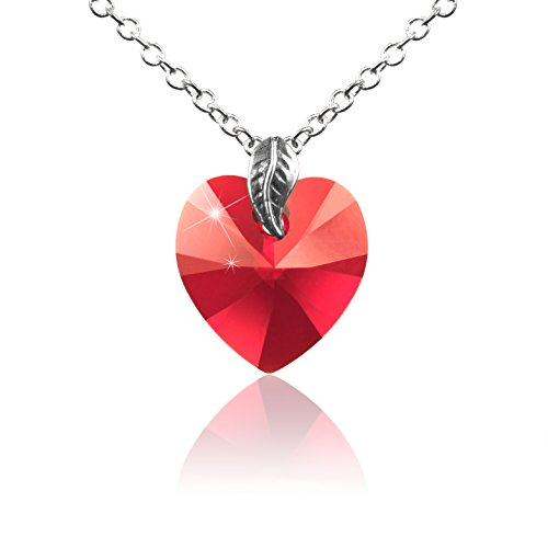 (Toko Jewelry Simulated 12 Months Heart Crystal Birthstone Necklace w/Elegant Leaf   Dainty & Minimal (Deep Red/Simulated Siam/January))