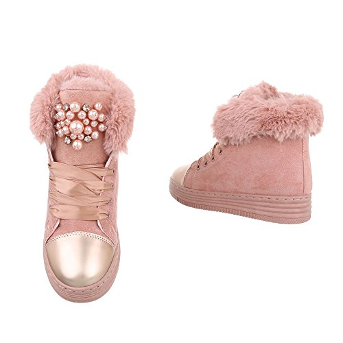 Ital-Design Sneakers High Damenschuhe Sneakers High Warm Gefütterte Schnürsenkel Freizeitschuhe Altrosa AB01