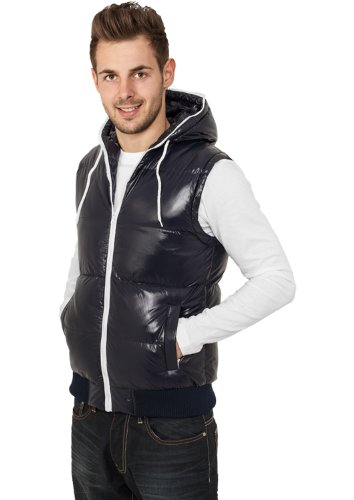 Urban Classics Hommes Hooded Bubble Vest TB332, color:navy/white;taille:XL