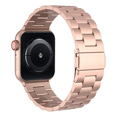 (iiteeology Compatible with Apple Watch Band, 42mm 44mm Stainless Steel iWatch Band Link Bracelet with Adapters for Apple Watch Series 4 Series 3 GPS & Cellular- Rose Gold)