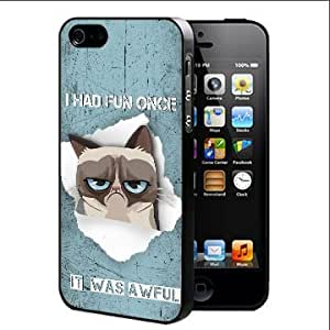 Grumpy Kitty With Funny Quote Hard Snap On Cell Phone Case Cover (iPhone 5 5s)
