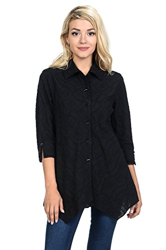 Focus Fashion Women's Cotton Voile Wave Embroidery Button-Down Shirt-EC104 (Large, Black)