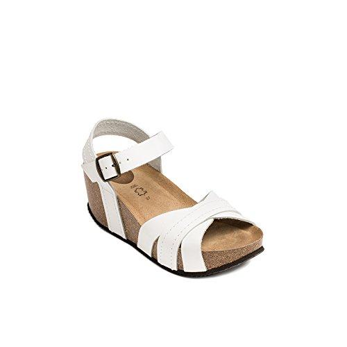 UMA Sandalias de Cuero Genuino Para Mujer de Blanco